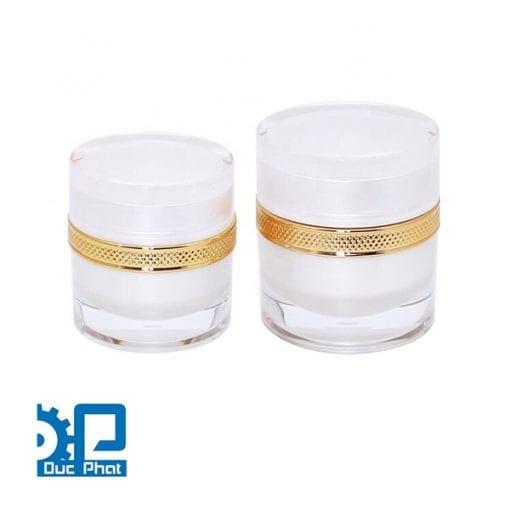 Hũ nhựa Acrylic Viền Gold 3 màu cao cấp