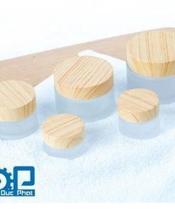 Vỏ hũ thủy tinh nắp gỗ tự nhiên