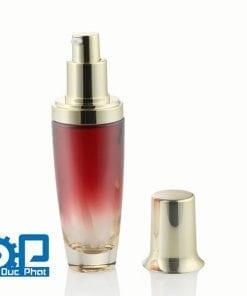 Chai mỹ phẩm cao cấp thủy tinh màu đỏ với bơm nhỏ giọt