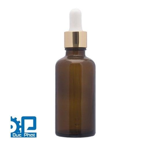 Chai tinh dầu màu nâu anodized nhôm nhỏ giọt vàng sáng