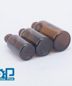 Chai tinh dầu thủy tinh nâu vỏ nắp chống trộm