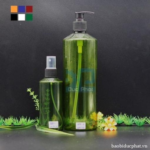 Chai pet mỹ phẩm xanh lá (2)
