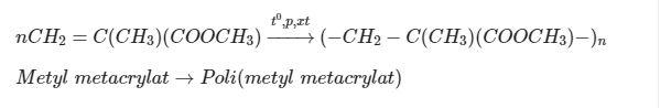tính chất của Poli Metyl Metacrylat (C5H8O2)n
